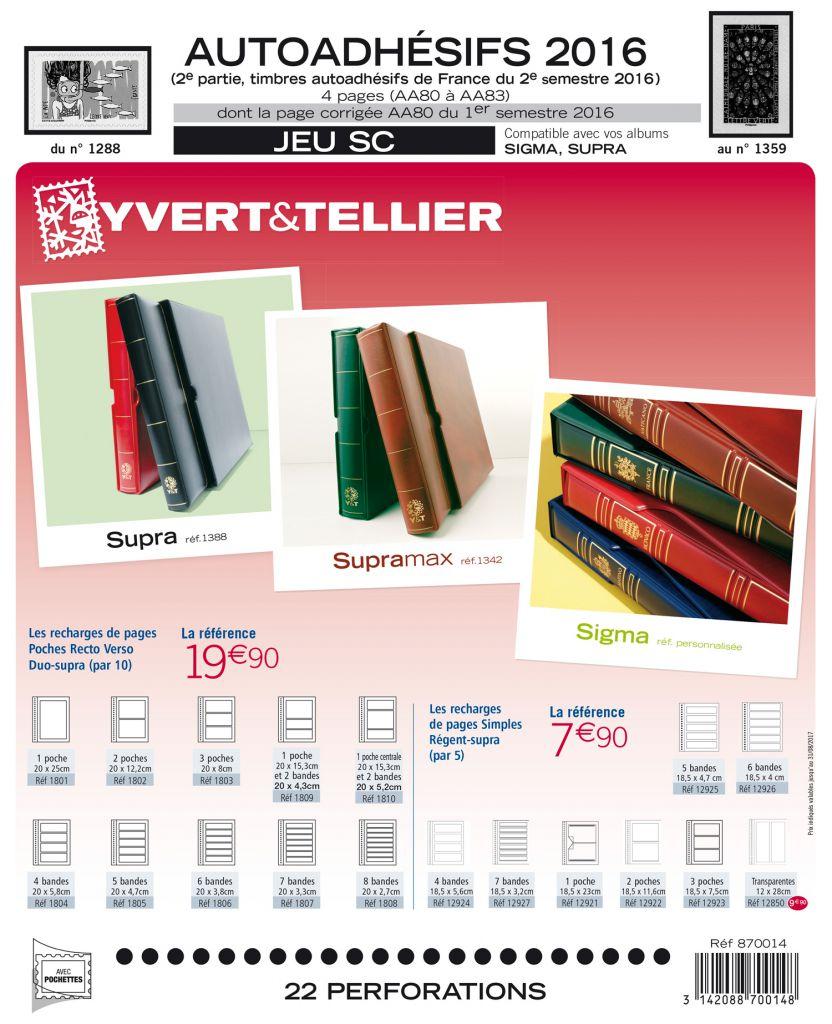 Feuilles SC france Autoadhésifs 2016/2ème semestre pour timbres YVERT