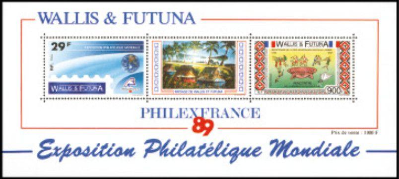 Timbre Bloc 4 Wallis et Futuna 1989