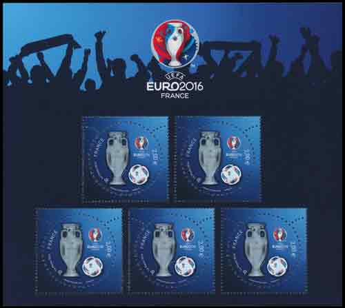 Timbre Bloc France EURO2016 vernis 3D
