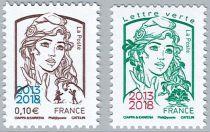 Timbre France Paire Marianne Surchargées 2013-2018