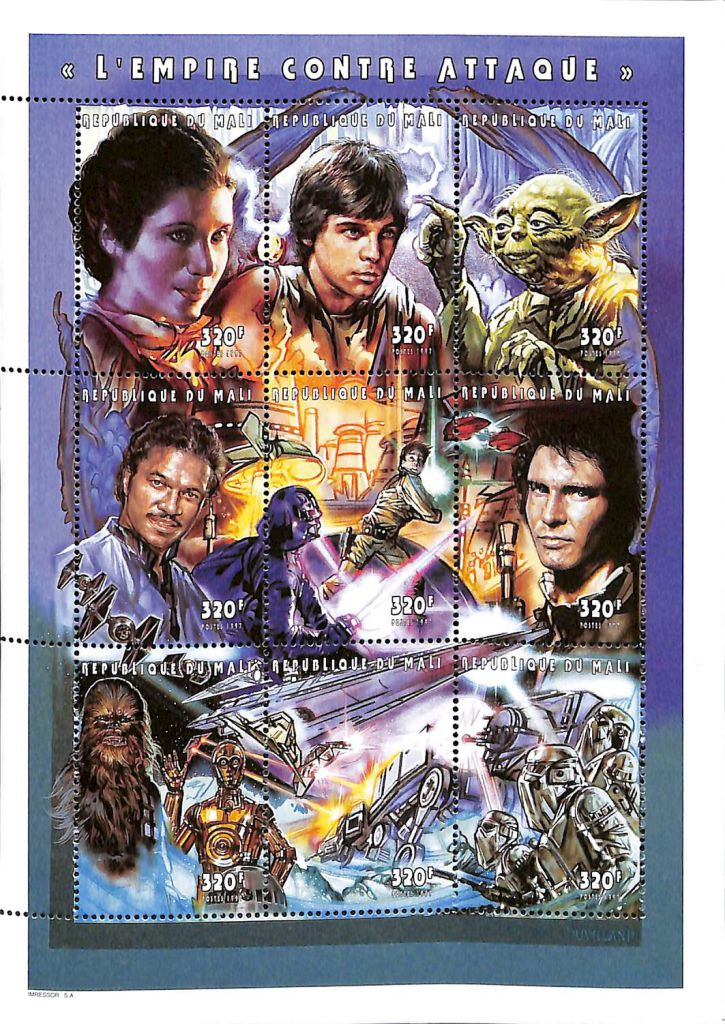 Timbres Star wars L\'empire Contre Attaque 1997 Mali