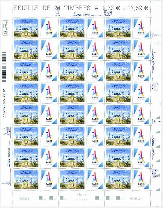 Feuille de 24 Timbres France JO Paris Surchargé Lima 13/09/2017